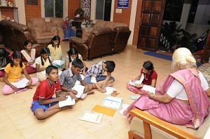 A class in progress at Anandam Old Age Home