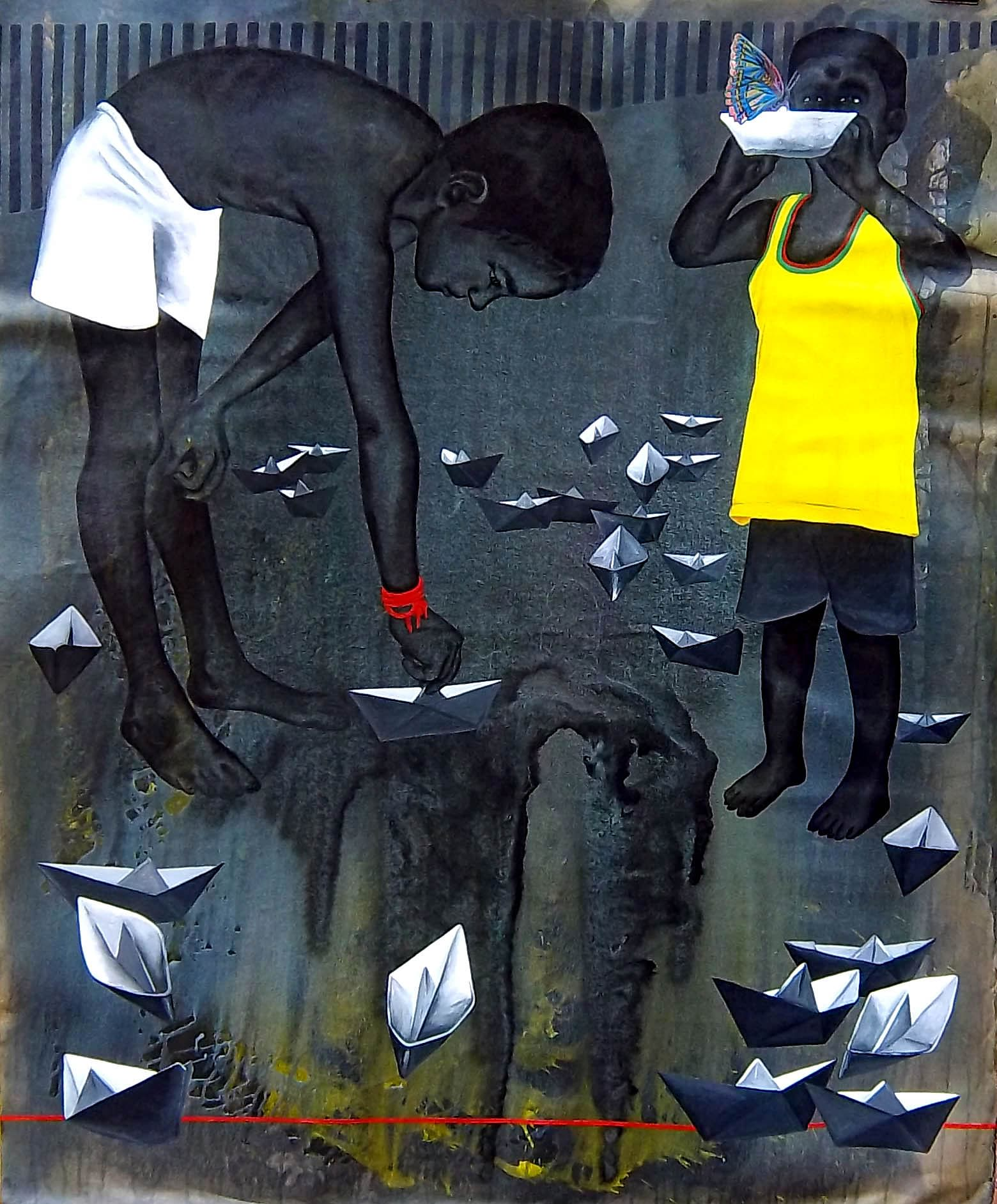 Avijit Roy1.Kids with paper boats and a butterfly on another paper boat