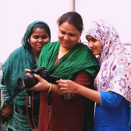 Kehkashan Beg (centre) along with Saira Khan (left) and Aisha Khatoon are running the film unit at Sanatkada, Lucknow. (Credit: Mehru Jaffer\WFS)