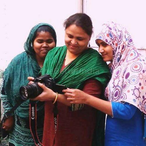 Kehkashan Beg (centre) along with Saira Khan (left) and Aisha Khatoon are running the film unit at Sanatkada, Lucknow. (Credit: Mehru Jaffer\WFS)