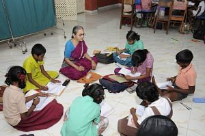 Senior citizen residents of Anandam Old Age Home teach children from nearby areas.
