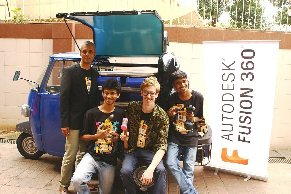 From L-R Pradeep Nair, MD, India & SAARC, Autodesk and Maker-in-Residence, Coby Ungar with his team