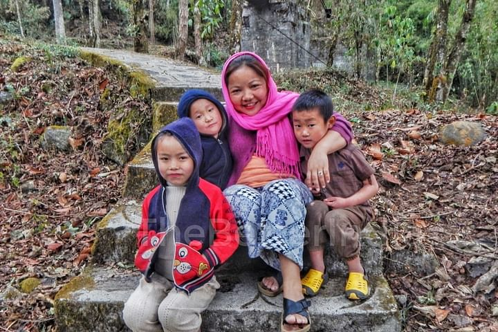 Children pose during a Jungle walk.