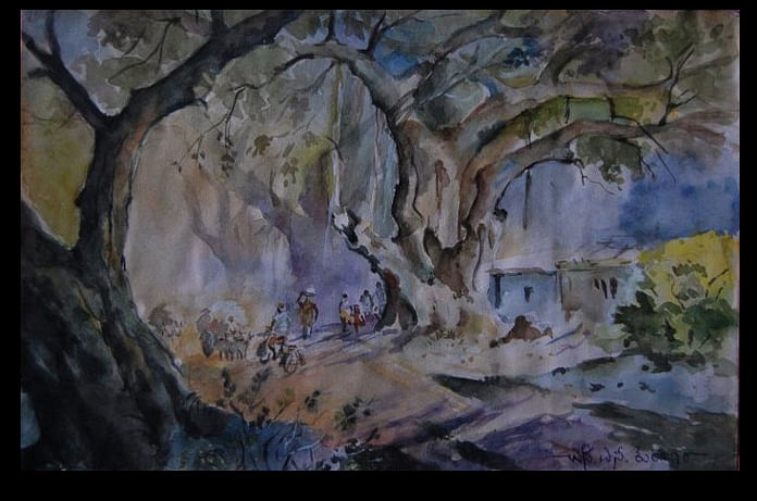 Narayan Kumbar, after rain painting