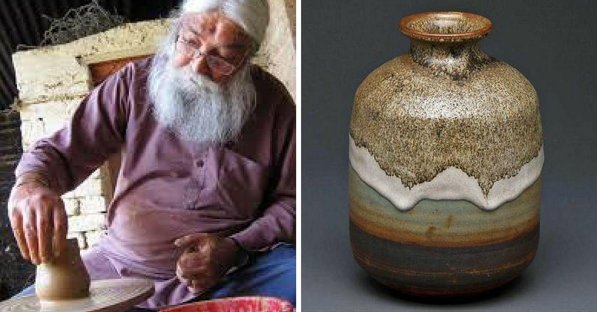Mansimran Singh at work. Pottery by Gurcharan Singh