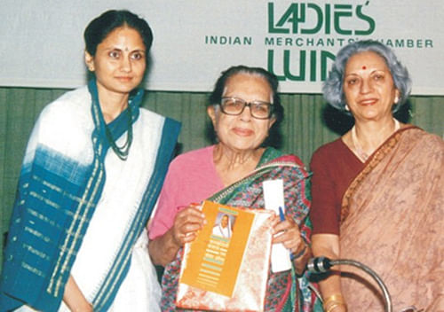 Inauguration of IMC- Ladies Wing Jankidevi Bajaj Puraskar in 1993, by the Chief Guest Dr. Sushila Nayar, eminent Gandhian & noted Educationist, Smt. Kiran Bajaj (President for the year 1992-93 and Founder of the Puraskar), and Smt. Indira Mahindra, (Founder-Chairperson, Awards Sub-Committee)