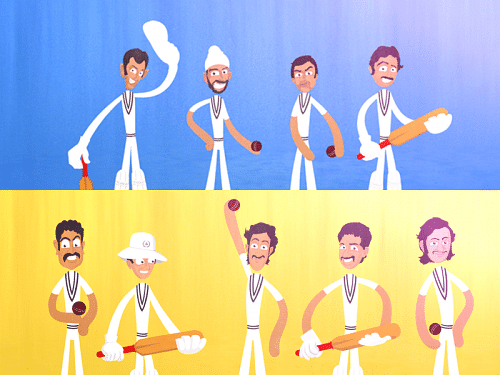 caricatures of the Indian Cricketers