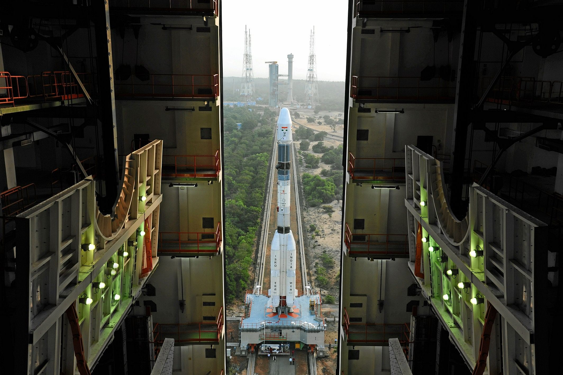 Fully integrated GSLV-F05 coming out of the Vehicle Assembly Building