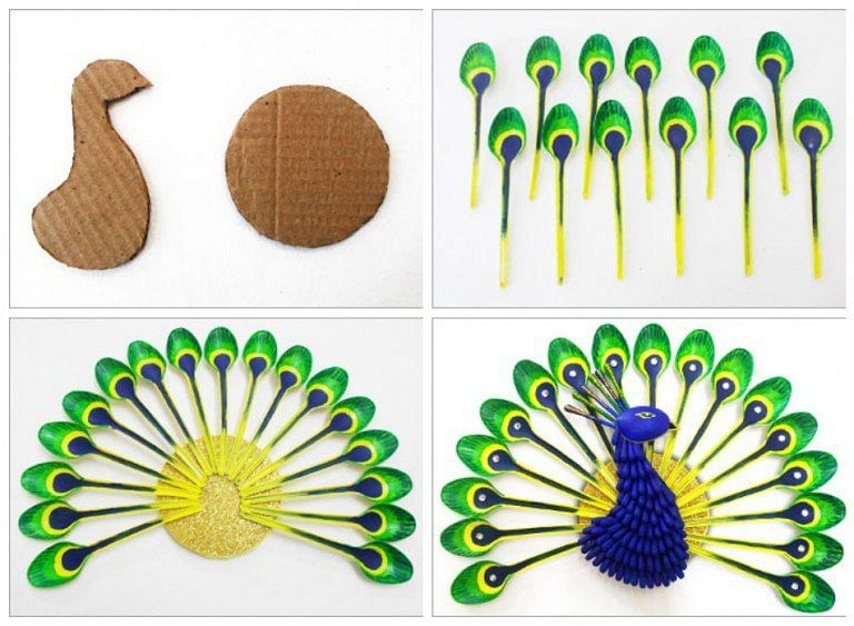 recyclart-org-diy-home-decor-how-to-make-beautiful-peacock-with-plastic-spoon-11