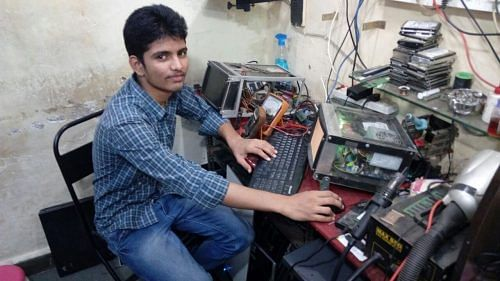 Jayant Parab with his PC