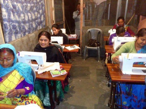 Women have got basic training in cutting and stitching.