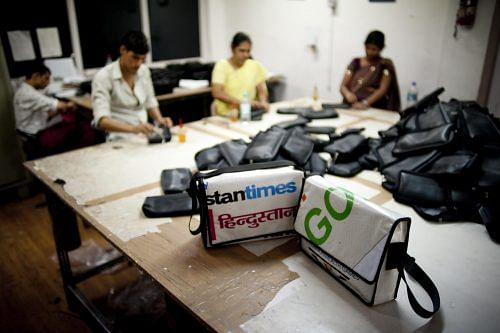 At Conserve India's production workshop quality upcycled bags are handmade.
