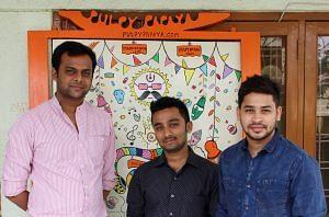 (L-R) Abhineet Agarwal, Akash Saraf & Tushar Somani - Co-Founders of Pulpypapaya