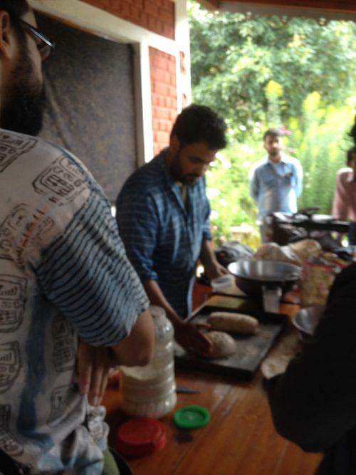 Gurvinder Singh holding an informal bread making session at the Himalayan Resort
