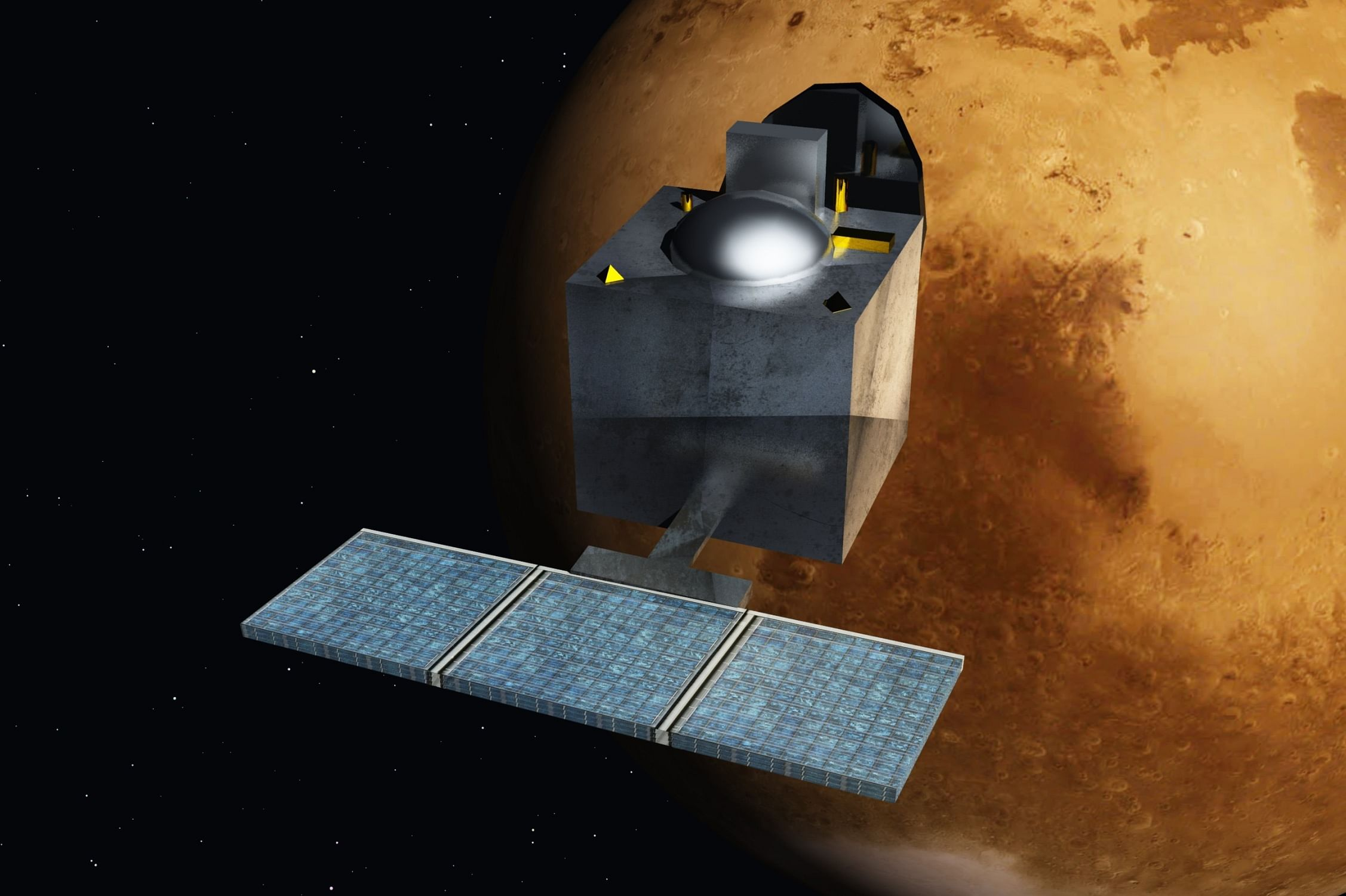 "An artist's concept art of India's Mangalyaan mission. ""People focus on Chandrayaan and Mangalyaan, and are often unaware of ISRO's significant contribution to other spheres of India's development,"" Mishra says. (Source: <a href=""https://commons.wikimedia.org/wiki/File:Mars_Orbiter_Mission_-_India_-_ArtistsConcept.jpg#/media/File:Mars_Orbiter_Mission_-_India_-_ArtistsConcept.jpg"" target=""_blank"">Wikimedia Commons</a>)"