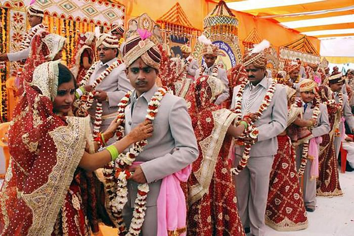 A mass wedding ceremony in the northern Indian city of Mathura.