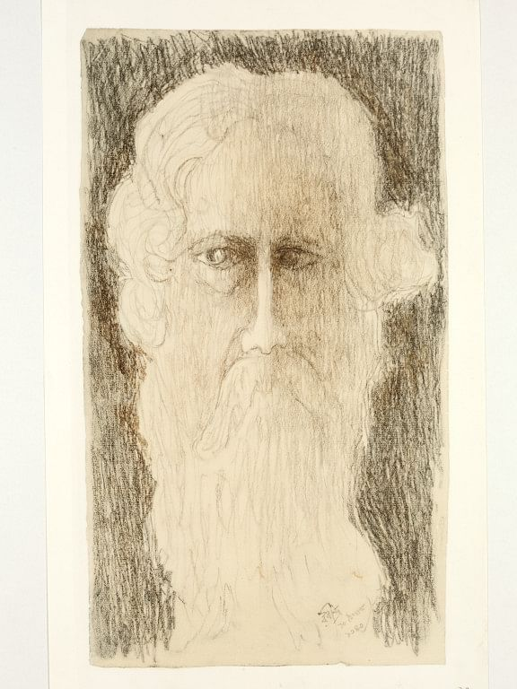 IS.94-1961 Lithograph Self portrait; Self portrait by Rabindranath Tagore, reproduction of drawing, Calcutta, ca. 1930-40 Rabindranath Tagore (1861-1941) Calcutta Ca. 1930-40 Reproduction of drawing.