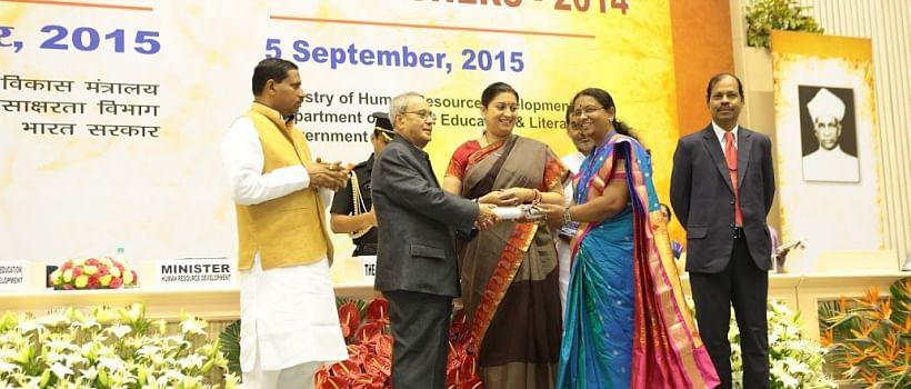2014 National awardee teacher Mrs. Bebinanda Dattatrya Sakat School Kardelwadi 365 days school pune Maharastra. 5 sep 2015