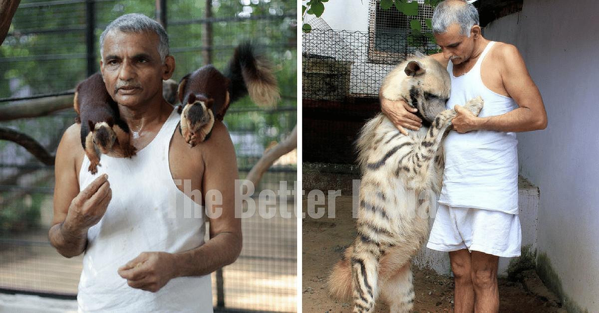Dr. Prakash Amte with the animals of Animal Ark