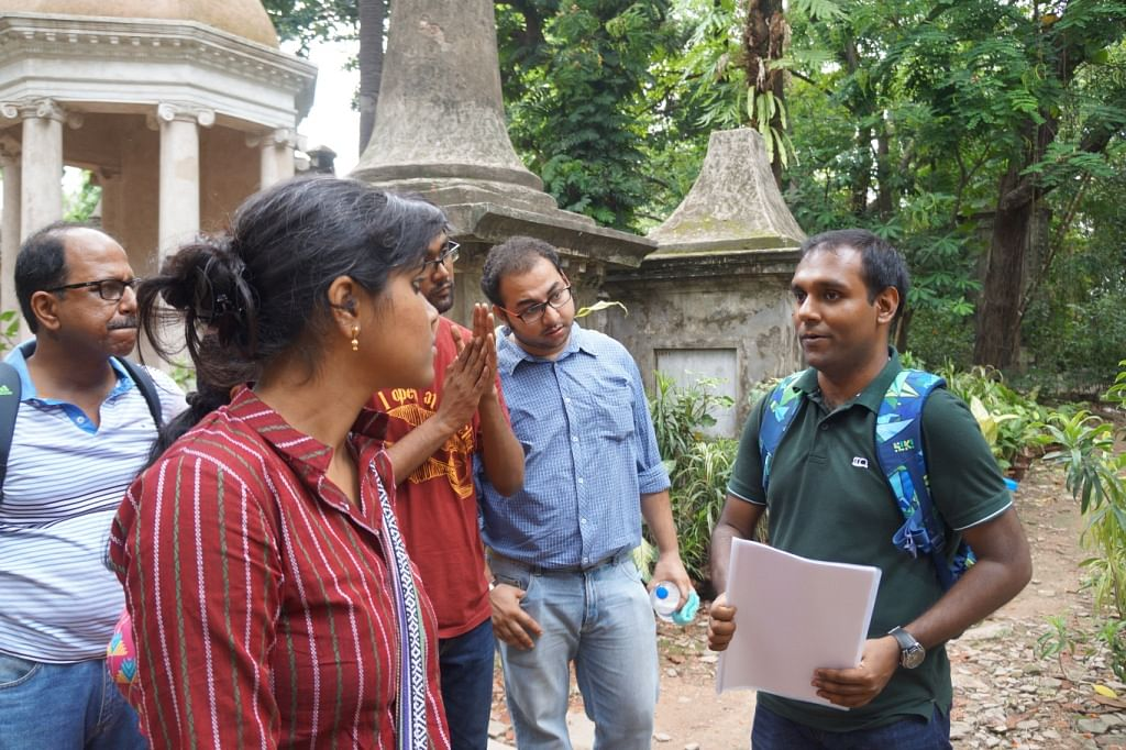 Tathagata (extreme right) on a heirtage walk at Park Street Cemetery, Kolkata