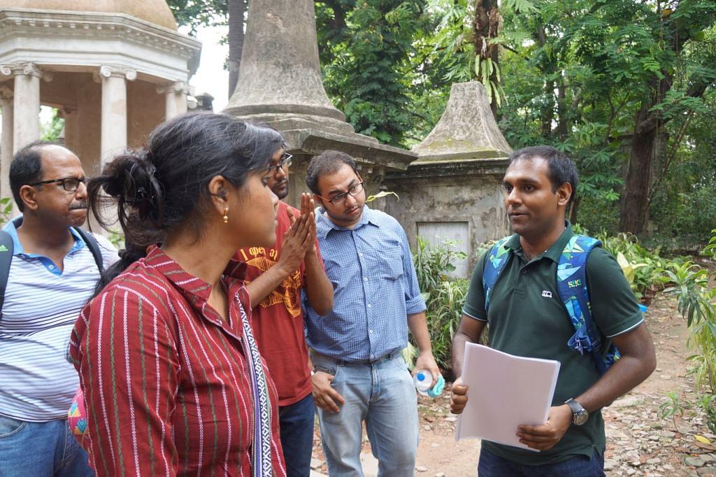 Tathagata (extreme right) on a heirtage walk at Park Street Cemetery, Kolkata