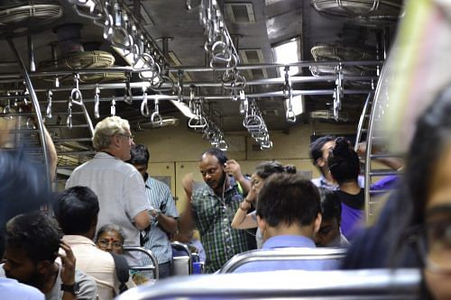 The crew shooting inside a local train in Mumbai