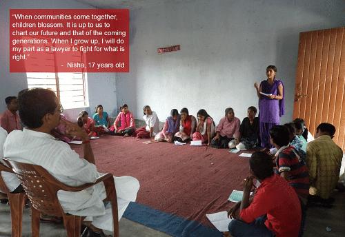Nisha raises key issues at a youth meeting with the village Panchayat