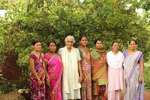 Sister Rosalia with the girls who train at the centre