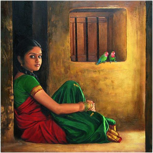 Image result for indian poor girls painting