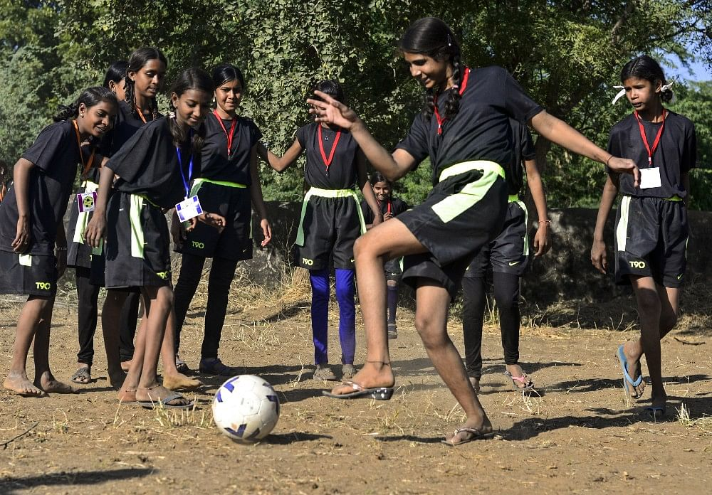 14 year old Beena came from Sakariya village for a football camp in Meeno Ka Naya Gaon, said 'I have never felt such freedom and happiness'.