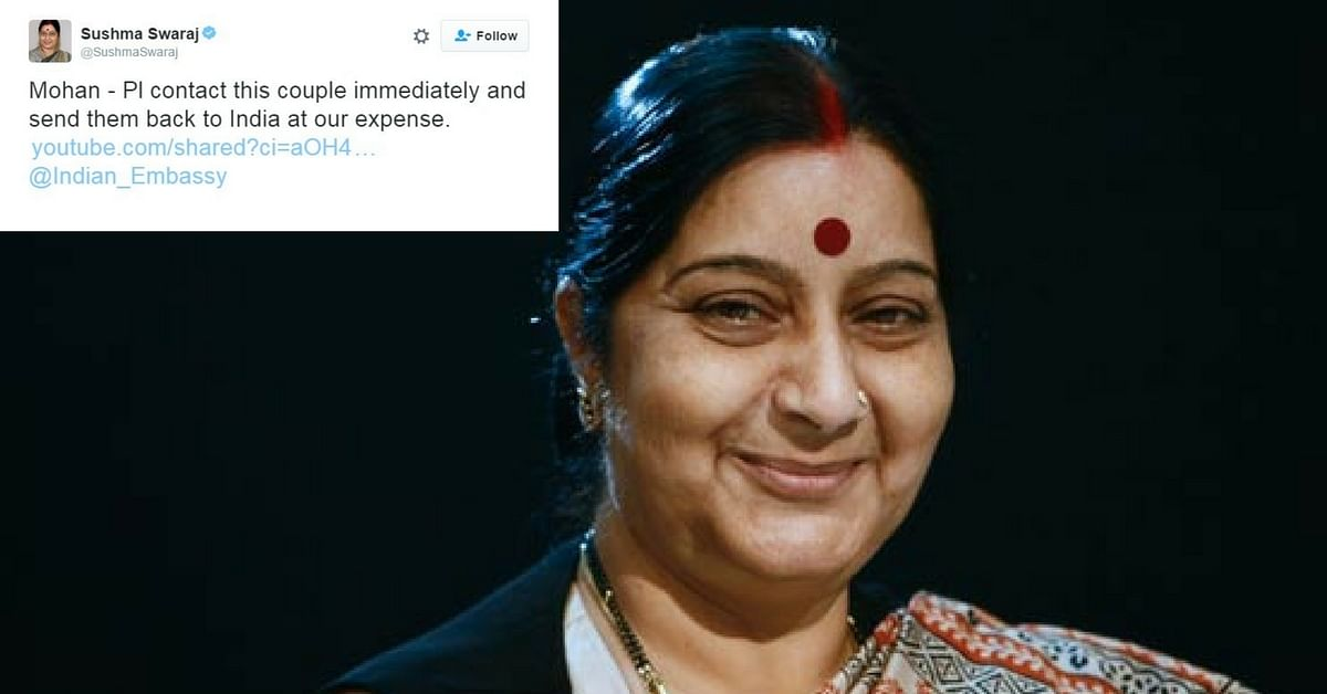"""The """"People's Minister"""" at Work: Sushma Swaraj Helps Elderly Couple Stuck in France Return Home"""