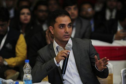 Amit Boni Head of Motorola India makes a point at Hult Prize India National Finals at VClub Gurugram, Jan 15.