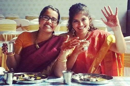 Hamsa Iyer and Shyamala Suresh at a wedding