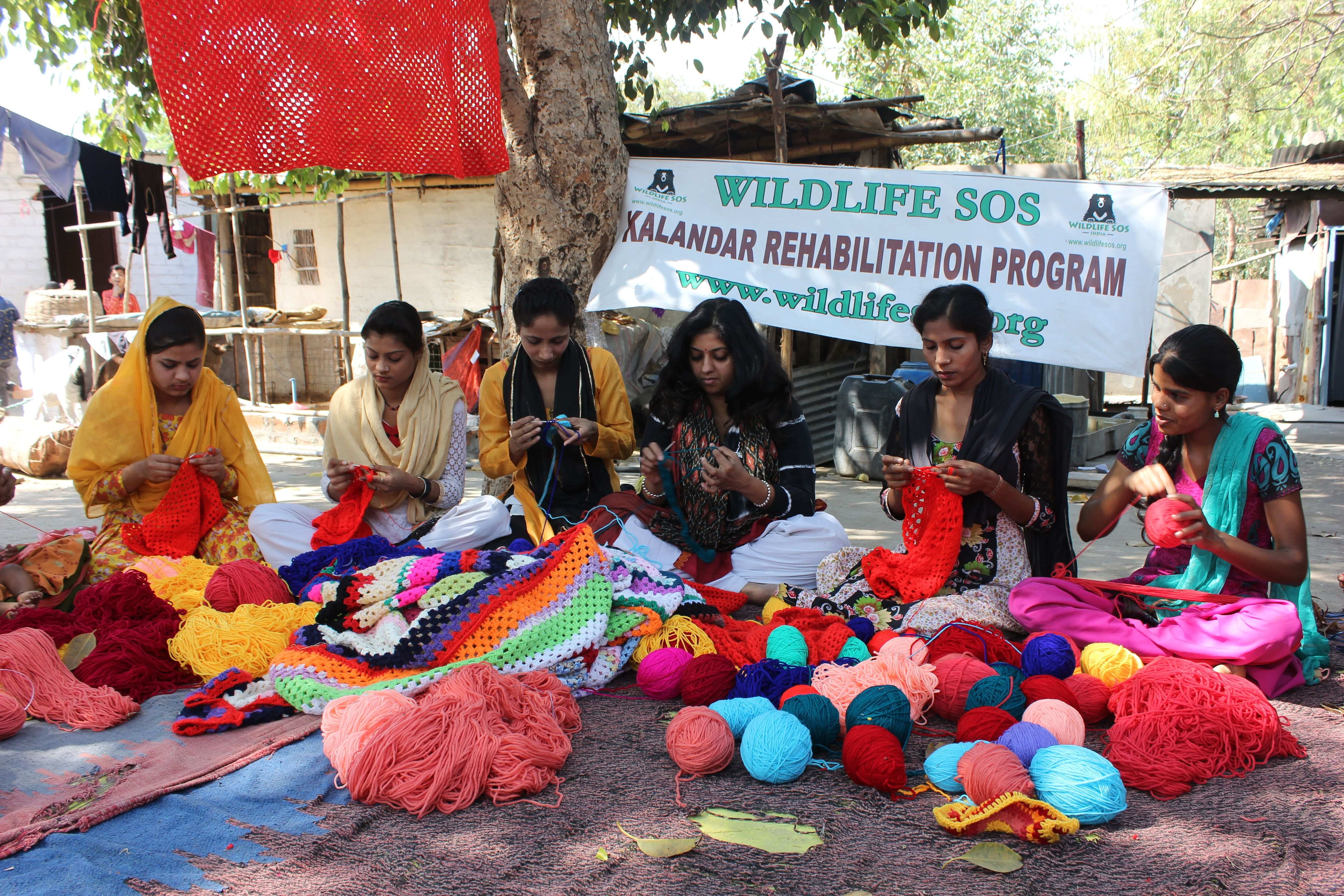 Women of the Kalandar community knitting the jumpers for the elephants