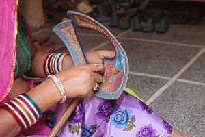 Embroidery on the Jodhpuri chappal