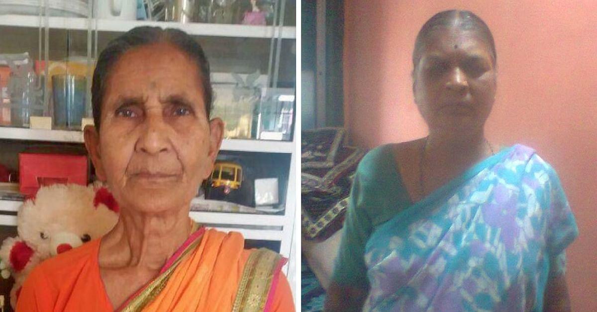 (L-R) War widows Sumati Yadav and Suman Sonawane