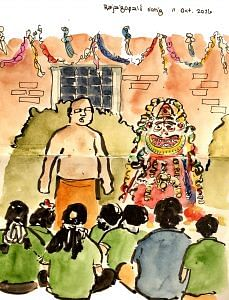 P. Rajagopal teaching children a new song.