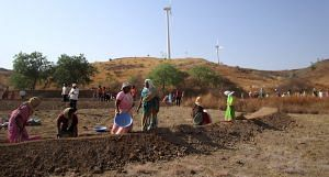 Kiraksal village is in Satara's most drought-prone Maan taluk. Villagers are following the ridge-to-valley method of watershed works. (Photo by Nidhi Jamwal)