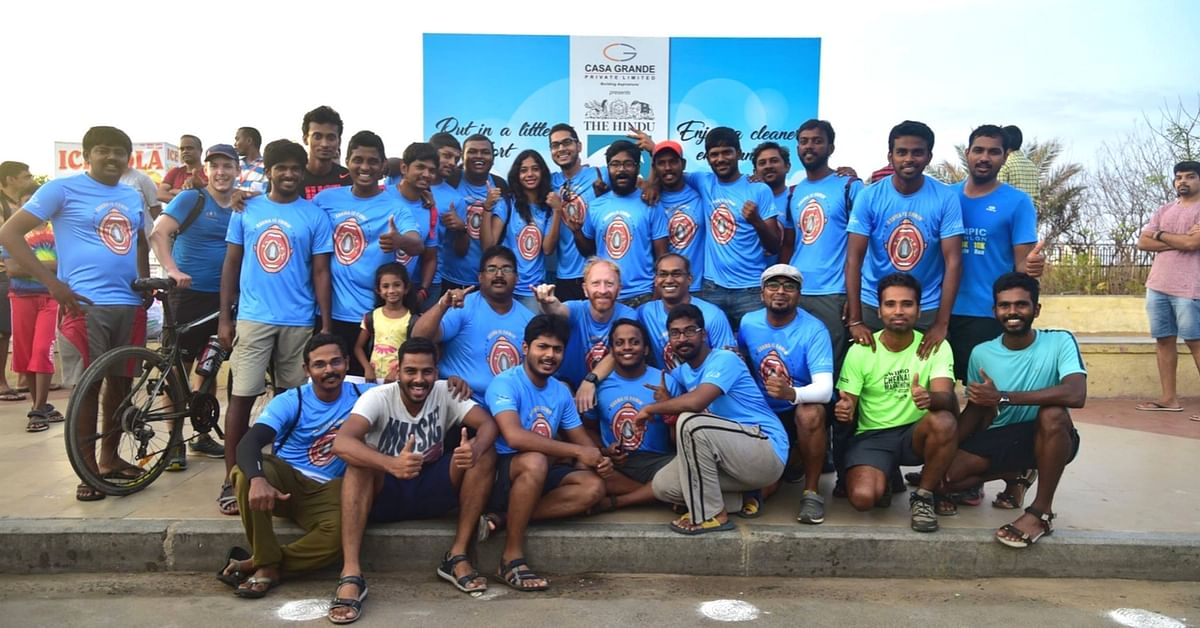 The team that organised the clean-up in Chennai.Image Courtesy: Dinesh Kumar