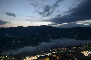 View of downtown Gangtok at dusk