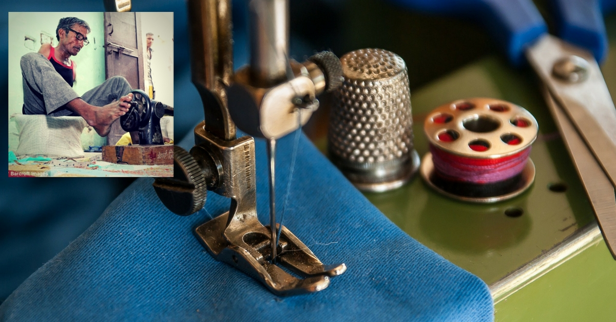 Here's How a Tailor Born Without Arms in Haryana Has Mastered the Art of Stitching!