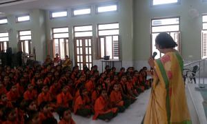 Ms Mathur motivating girls to complete their education and become self dependent