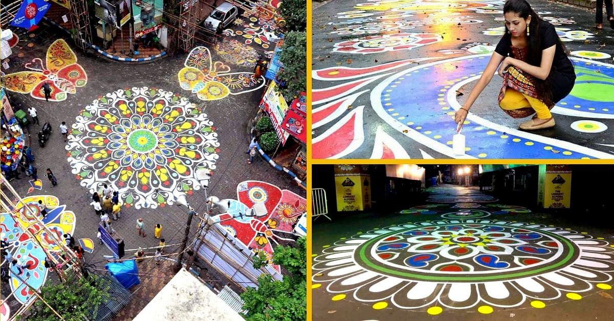 Brilliant! Hundreds create Longest Ever Alpona in Kolkata for Mahalaya!