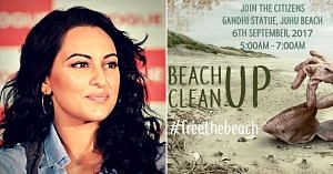 sonakshi-sinha-beach clean up-mumbai