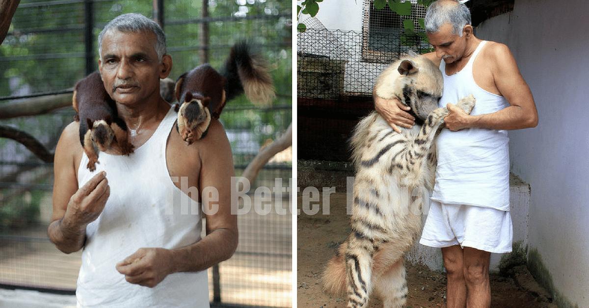 Dr. Prakash Amte at his animal orphanage.
