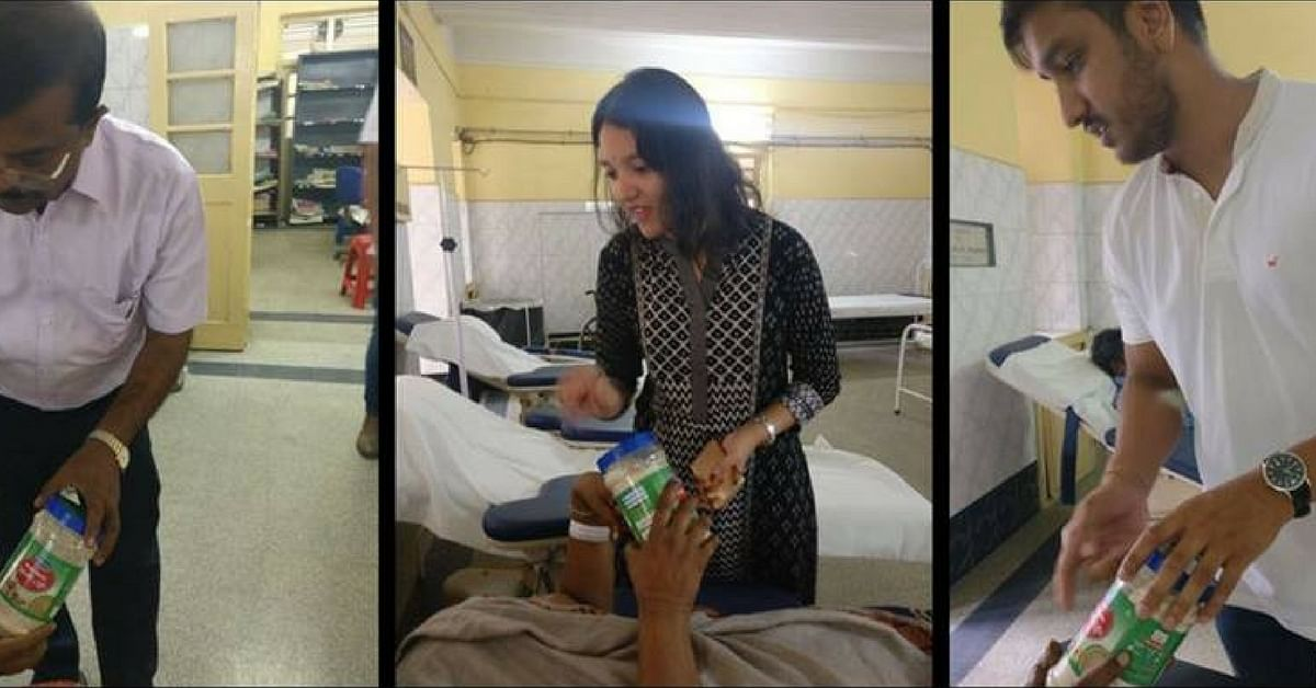 Distributing the nutritional health drink. Picture Courtesy: Facebook.