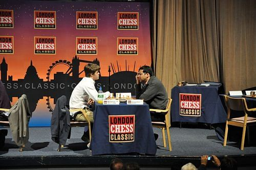 Magnus Carlsen versus Viswanathan Anand in an earlier tournament (Source: Wikimedia Commons)