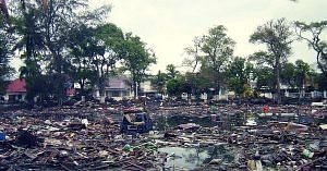 A tsunami leaves death and destruction in its wake.Representative image only. Image Courtesy: Wikimedia Commons.