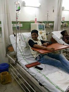 20-year-old Harish battling Thalassemia Major receives his first blood tranfusion at TWF's newly inaugurated centre at Bhailal Amin Hospital in Vadodara, Gujarat. (Source: TWF)