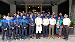 TS Tirumurti, the High Commissioner of India in Malaysia, with the Under-20 Indian Ice Hockey squad (Source: Ice Hockey Association of India)
